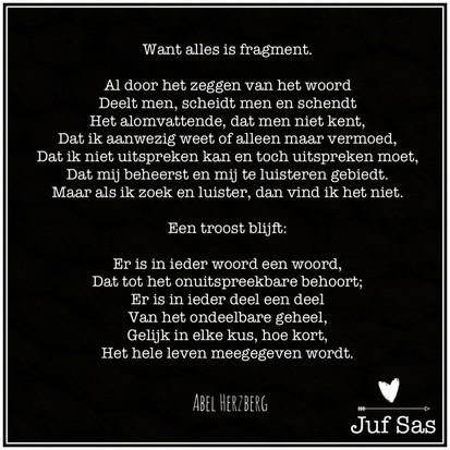 'Want alles is fragment' gedicht van Abel Herzberg