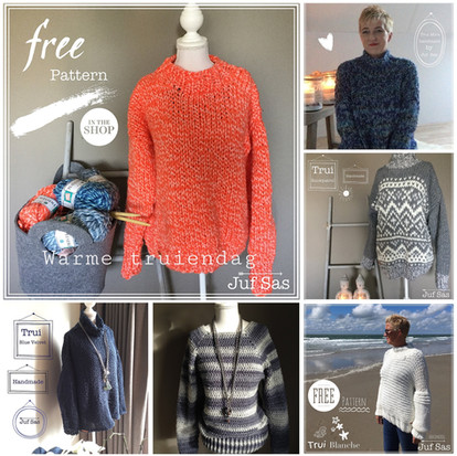 Warme truien handmade by juf Sas met gratis patronen