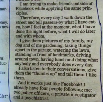 Facebook in real life, niet zo'n goed idee