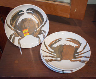 Small Plates with Metallic Crabs so/6