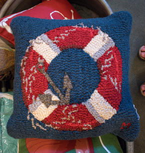 Hooked Wool Navy Pillow with Life Ring