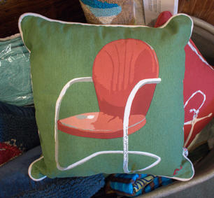 Green Pillow with Red Chair