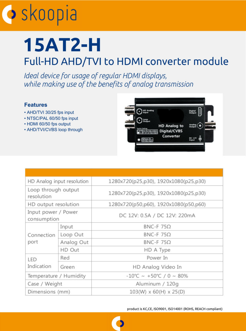 Full HD AHD/TVI to HDMI converter