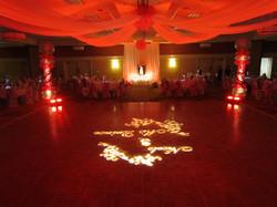 Red Uplighting on Dancefloor Decor
