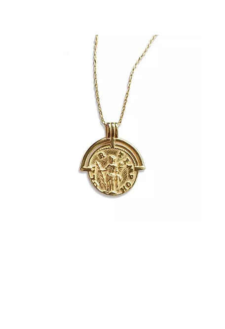 Coin amulet gold necklace
