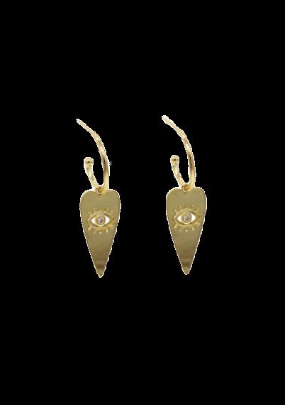 Evil eye heart charm earrings