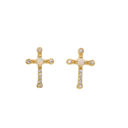 Mini cross earrings moonstone