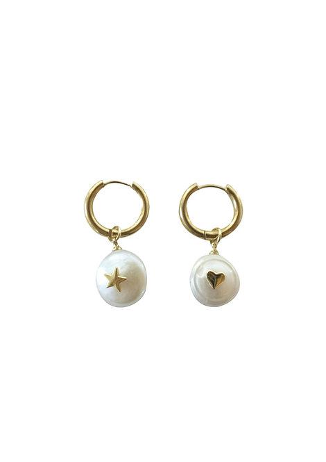 Seawater pearl star heart earrings