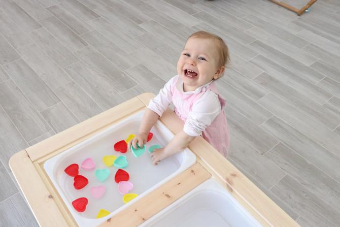Sensory Table - Water & Hearts