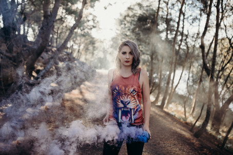 blue coloured smoke portrait