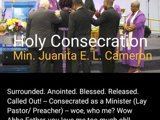 Consecrated As A Minister...