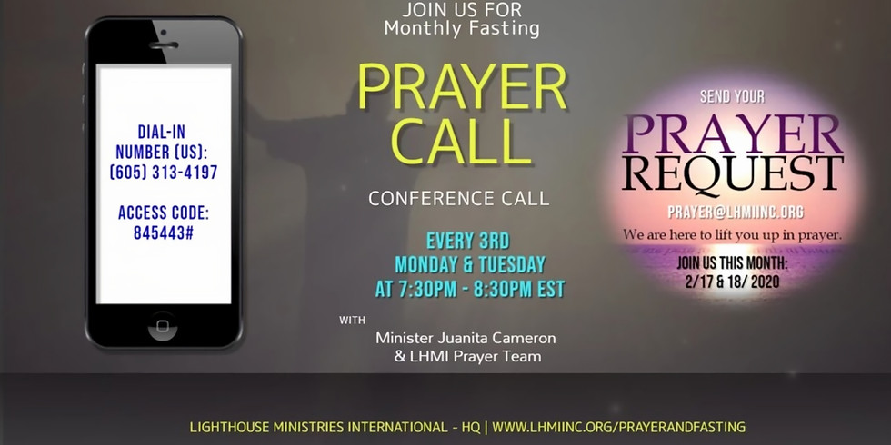 Monthly (Monday) Prayer Call - March 2020