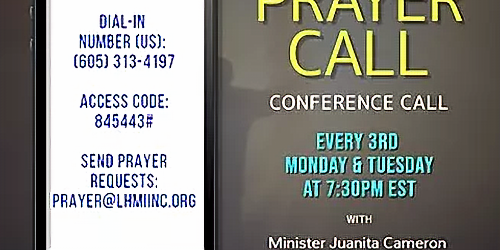 Monthly (Tuesday) Prayer Call - March 2020