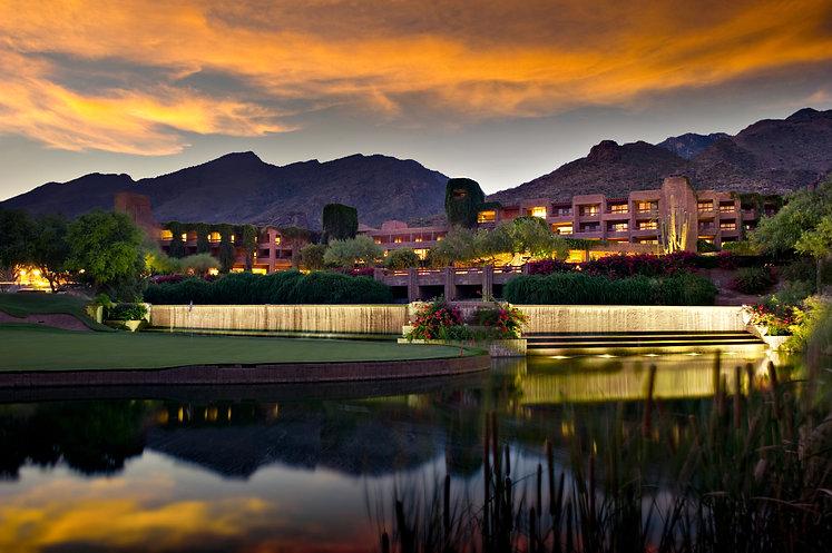 Long exposure of a luxury hotel resort.
