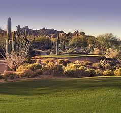 Beautiful desert tee shot golf course -