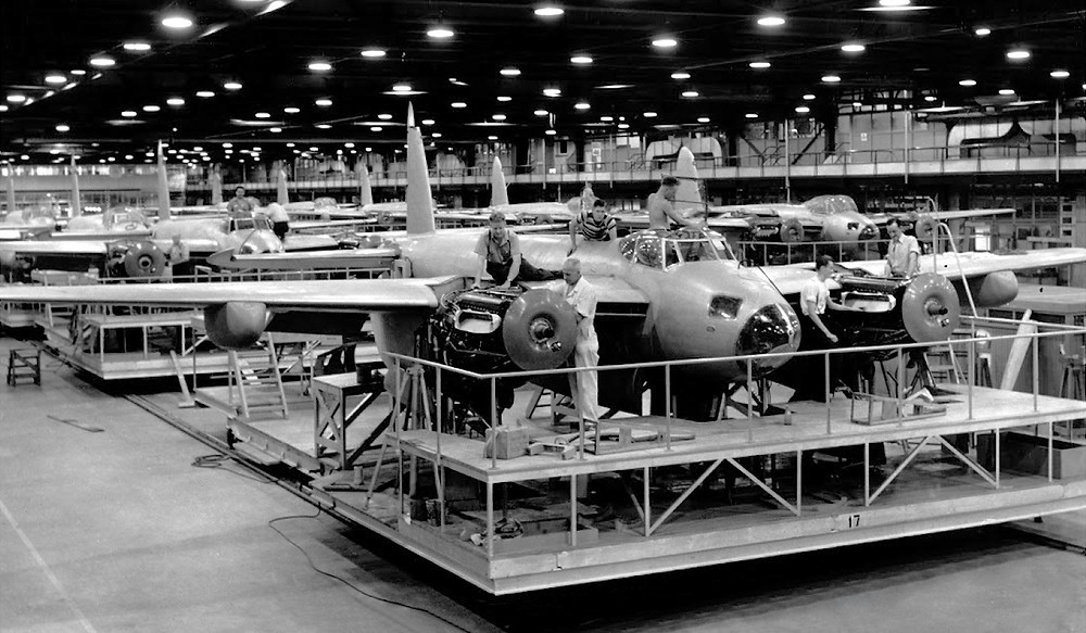 The Mosquito in production at the de Havilland factory
