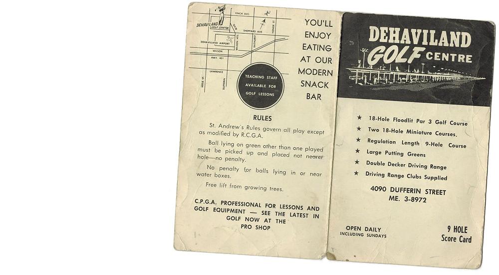 A 9 hole score card from the de Havilland Golf Centre
