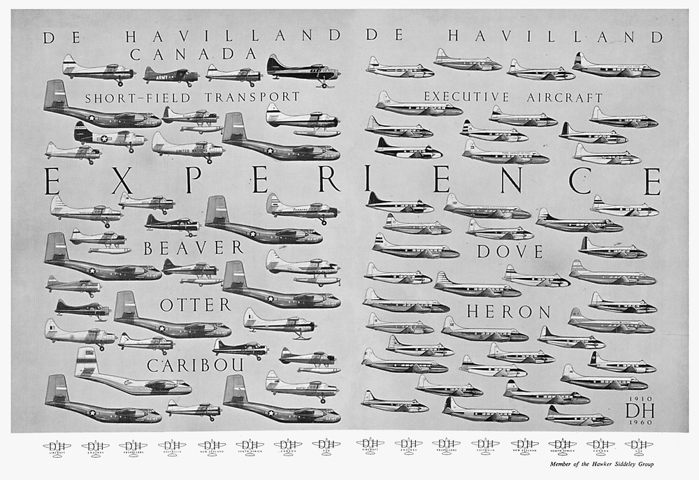 A promotional poster from 1960 with the de Havilland fleet