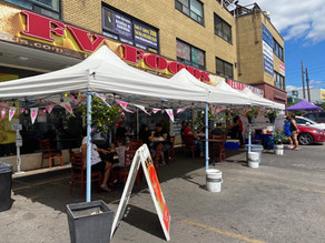 COVID has brought new ways to use outdoor spaces and parking lots. We saw lots of tents and shade coverings and people experiencing new ways to eat the local food they love.