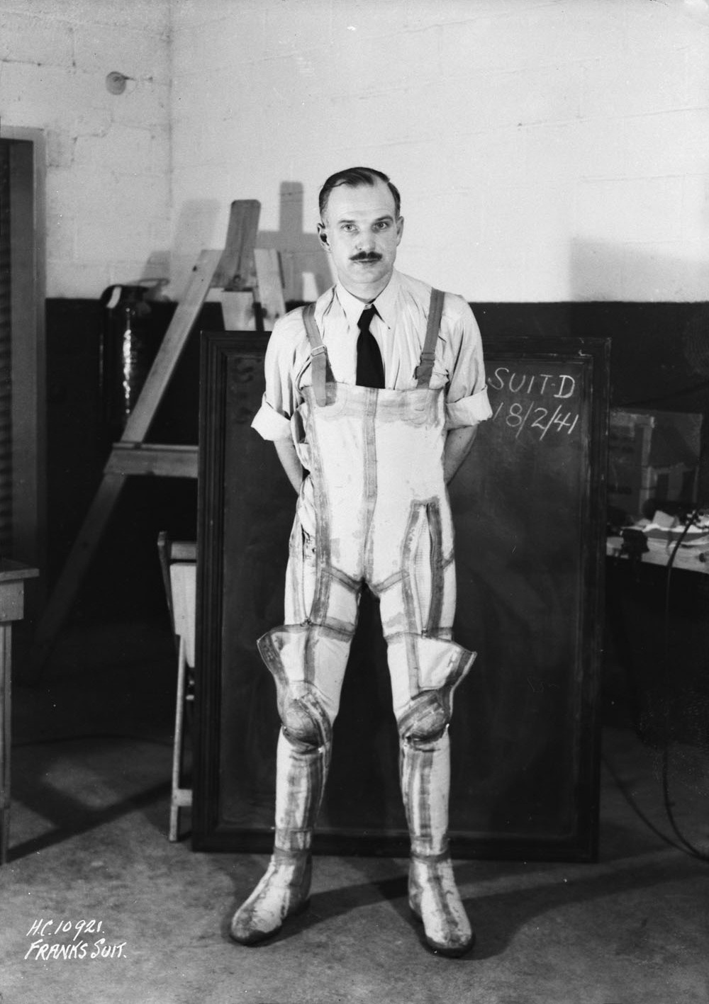 Wilbur Franks in his anti-gravity suit in 1941. Frank's laboratory became the RCAF Institute of Aviation Medicine, which later became the DCIEM
