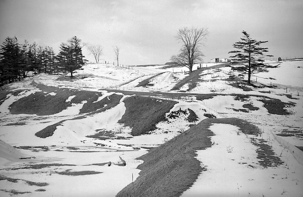 Dufferin Street south of Finch Avenue West in 1954  showing former roadbed of the Gore and Vaughn Plank Road