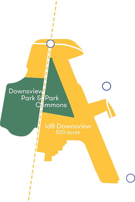 The site is 520 acres and adjacent to Downsview Park and Park Commons, three local transit stops and GO rail line