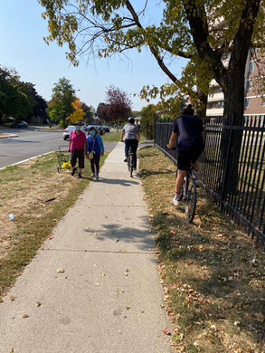 Cyclists are frequently on the sidewalk because it feels safer than the road, though we understand this can introduce conflict with pedestrians.