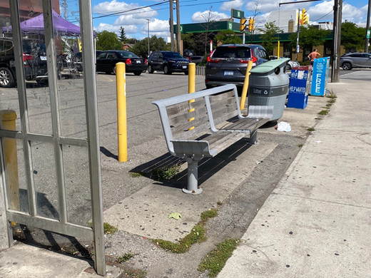 Providing good seating is important for pedestrians and to support active streets, but benches near traffic or on hot asphalt without shade are not appealing.