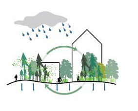 Stormwater balance that increases the amount of water absorbed by the ground (rather than piped off-site), improves water quality, and reduces erosion