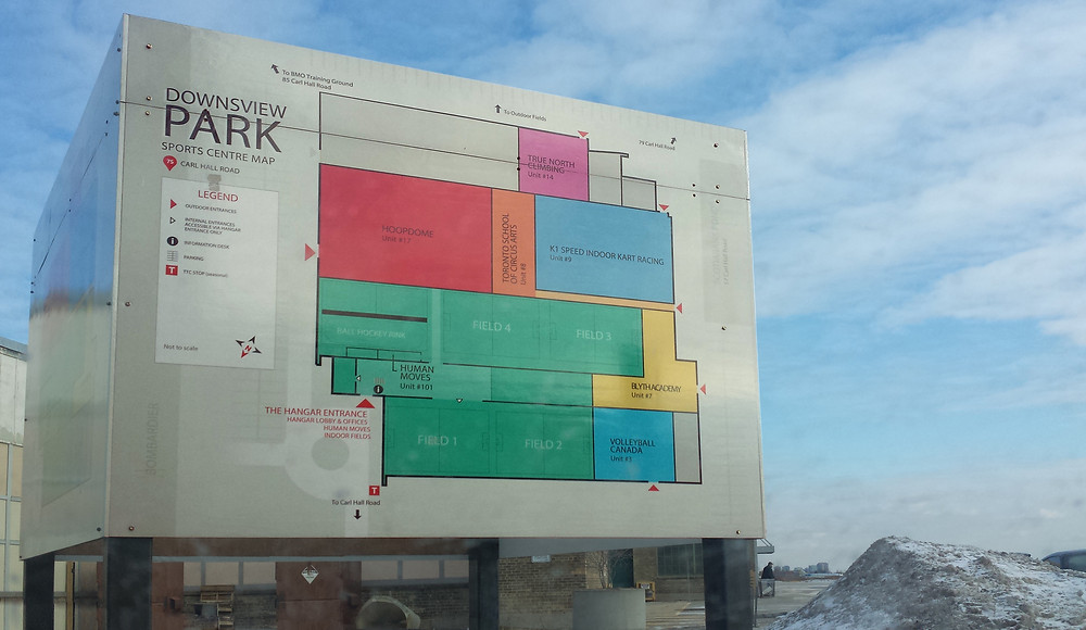 A map of the Sports Centre at Downsview Park
