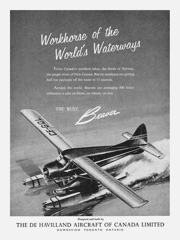 Ads for the de Havilland Beaver from 1955 and 1957