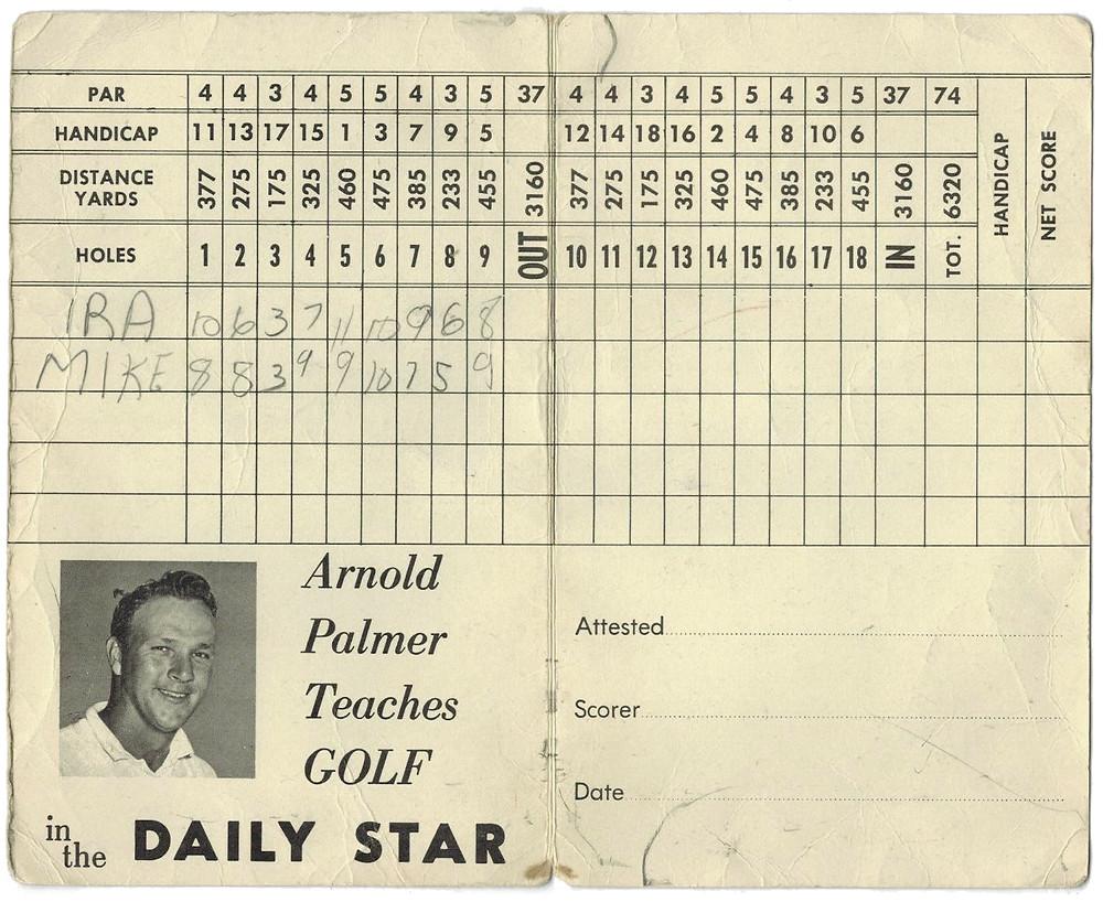 Inside a de Havilland Golf Centre score card