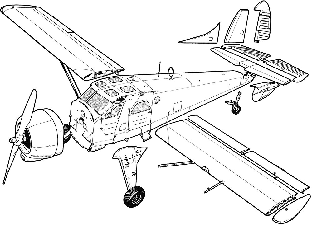 An exploded drawing of the Beaver's L-20 military model