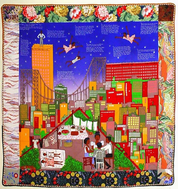 The exhibit features Tar Beach #2 (1990–1992), which depicts Ringgold's recollections of growing up in Harlem during the summer when the tar roof of an apartment building served as a place for family picnics, star gazing and good times. Ringgold won a Caldecott Honor and th Coretta Scott King Award for her book Tar Beach.