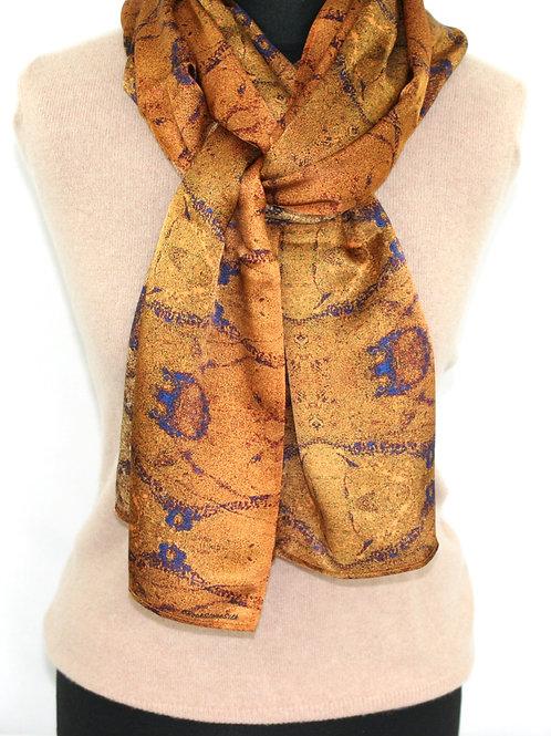 Gold light twill scarf Plankshe Rock Stone Silk