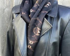 Digitally printed women's silk scarf in the Plankshe range by Rock Stone Silk