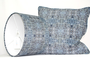 Digitally printed lampshades in the Stromat range by Rock Stone Silk
