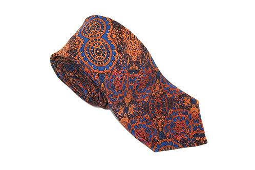 Orange-blue handmade silk tie Intraben Rock Stone Silk