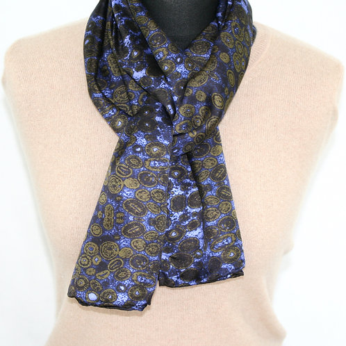 Lilac-gold light twill scarf Oospar Rock Stone Silk