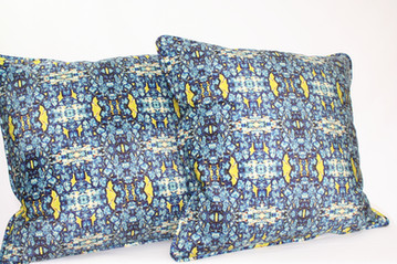 Digitally printed silk and suede cushions in the Bardol range by Rock Stone Silk
