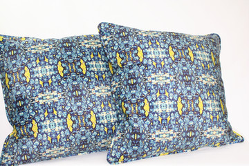 Digitally printed silk and suede cushions in the Bardol range by Rock Stone Silk