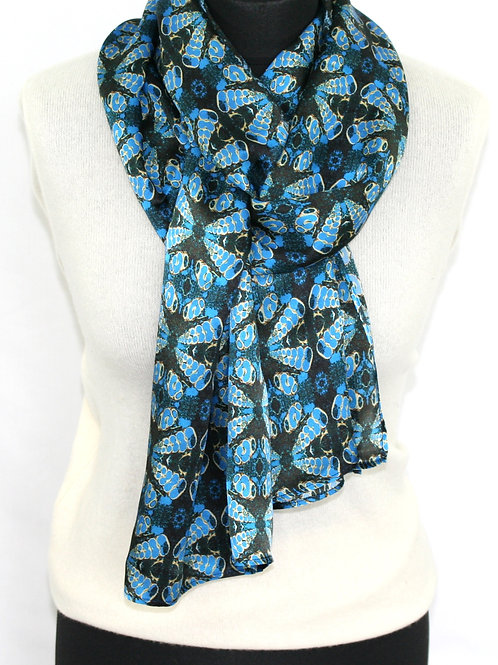 Blue light twill scarf Mollusc Rock Stone Silk