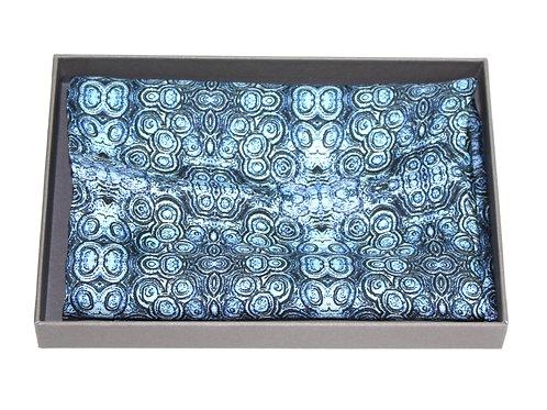Aqua silk pocket square Stromat Rock Stone Silk