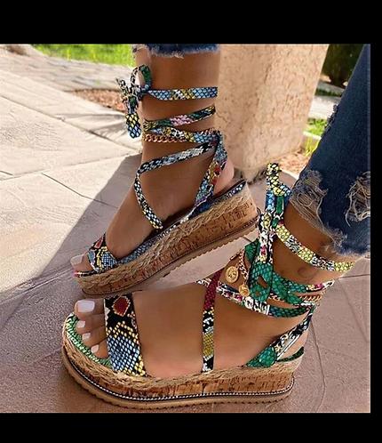 Snake Skin Strap Sandals