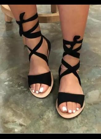 All Black Strap Sandals