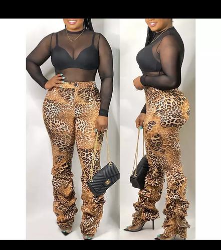 Cheetah Print Stack Pants