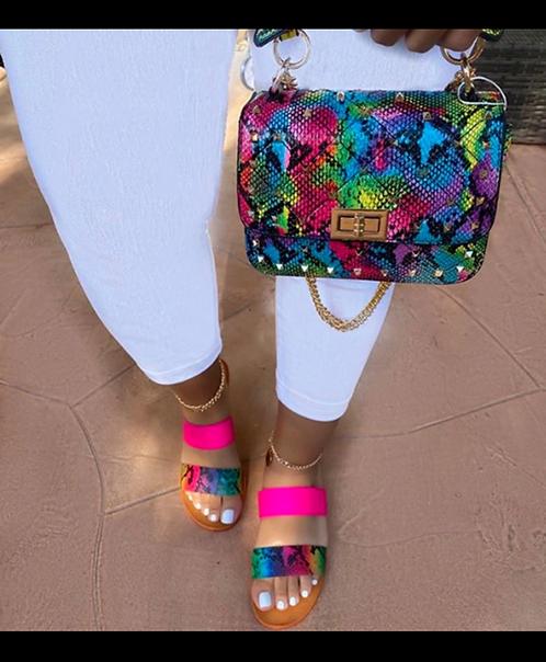 Rainbow purse and sandal set