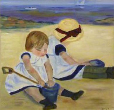 Vervalsing van Children playing on the beach van Mary Casatt