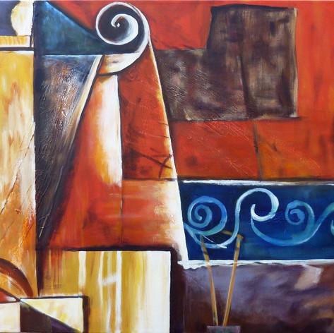 Vervalsing Detail uit Violin and Guitar van Pablo Picasso