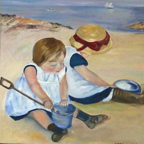 Vervalsing van Children playing on the beach van Mary Cassatt
